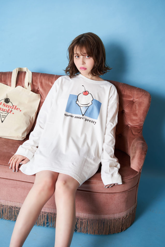 加藤ナナ/韓国トレンドファッションブランド『Darling Baby(ダーリン ベイビー)』シーズンモデル Darling Baby pastel long Tee D1168 ¥4,500