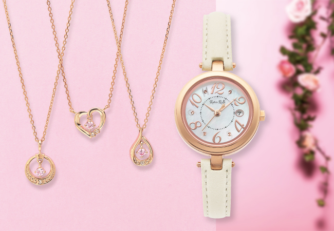 ルビンローザ 初夏の新作 左から「Sweet Pink シリーズ」ネックレス RBN038PG-A・ RBN036PG-A・RBN037PG-A  ソーラーチャージ時計 R220SOLPWH