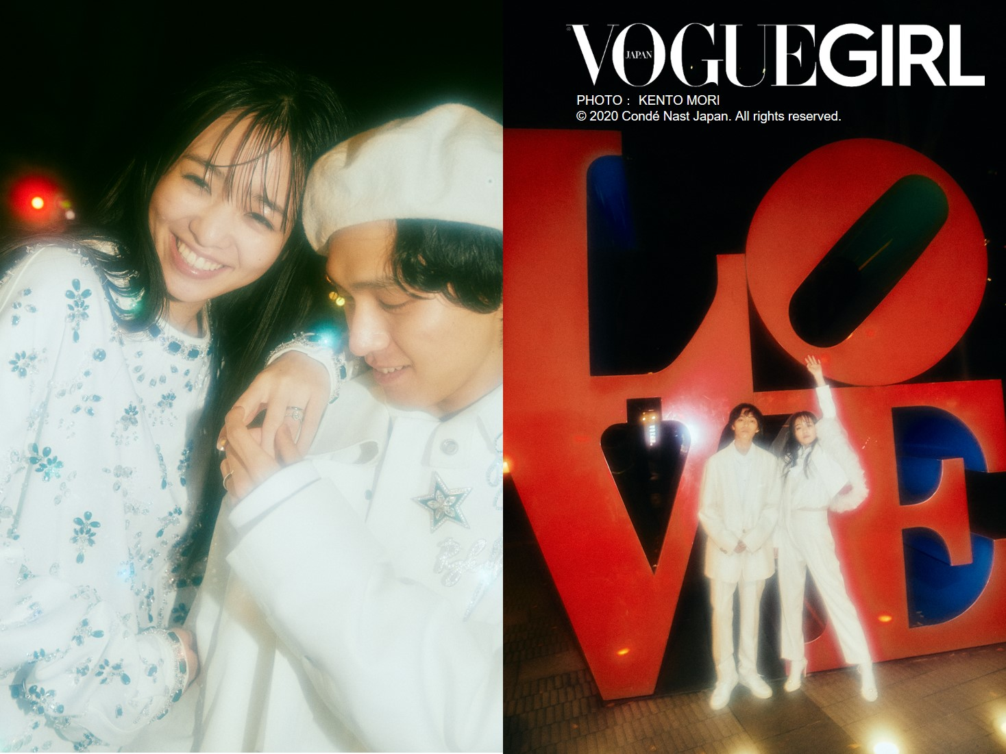横田真悠と見津賢/LOVE LOGOの前での写真